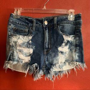 American Eagle Hi-Rise Shortie Distressed shorts 4